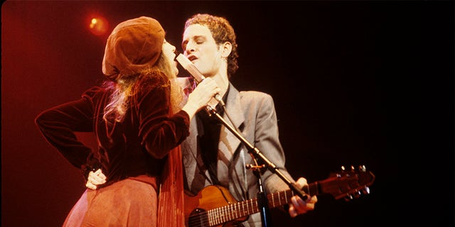 "Stevie Nicks singing ""Sara"" with Lindsey Buckingham on the ""Tusk"" tour in 1980."