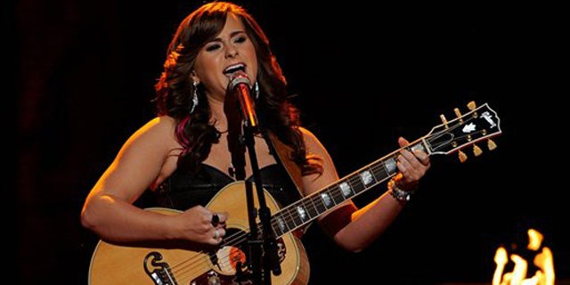 April 11, 2012: Skylar Laine performs on the singing competition series 'American Idol' in Los Angeles.