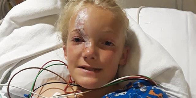 A tool got caught in the mower's blade, causing it to dislodge and hit Skylar in the face.