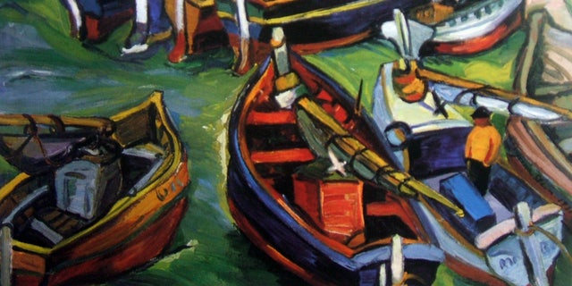 """Undated photo provided by The City of Tshwane shows a 1931 Irma Stern """"Fishing Boats"""" oil on canvas."""