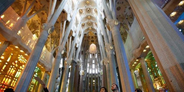 Sagrada Familia Basilica, designed by architect Antoni Gaudi, in Barcelona, Spain, Oct. 21, 2015.