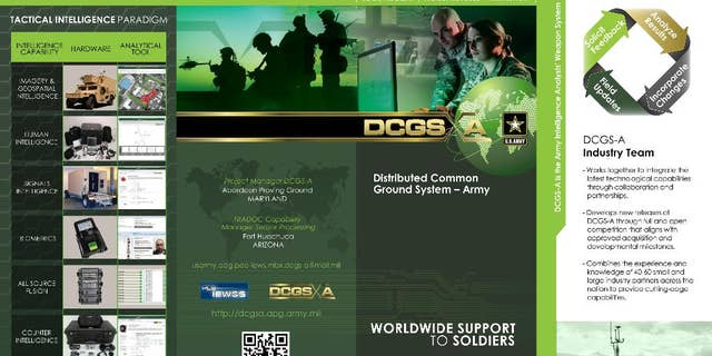 This image provided by the U.S. Army shows a page from a brochure about the Distributed Common Ground System. Records obtained by The Associated Press show that military bureaucrats have been trying to force the use of DCGS, an unpopular government-built intelligence system on special operations units deploying to war zones while blocking soldiers from using the commercial alternative they say they need. (AP Photo/U.S. Army