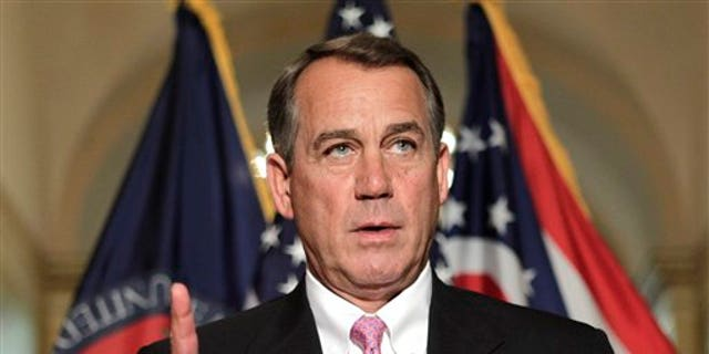 April 8: House Speaker John Boehner of Ohio gestures while speaking on Capitol Hill in Washington to respond to criticism by Senate Majority Leader Harry Reid of Nev. on the then-deadlocked budget negotiations.