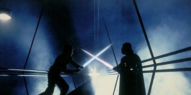 Luke Skywalker engages in a perilous lightsaber duel with Darth Vader in 'Star Wars: Episode V The Empire Strikes Back.'