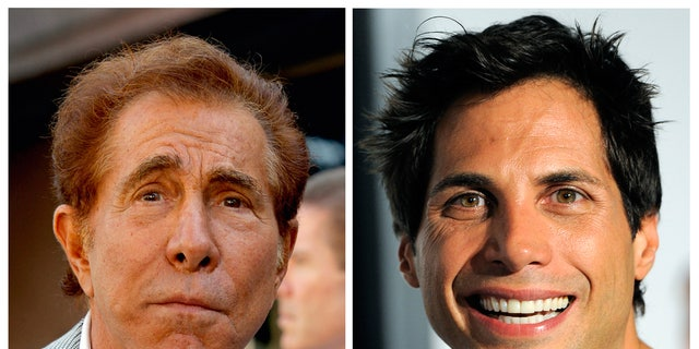 """FILE - photos of casino mogul Steve Wynn, left, in Los Angeles, and """"Girls Gone Wild"""" founder Joe Francis, in Los Angeles."""