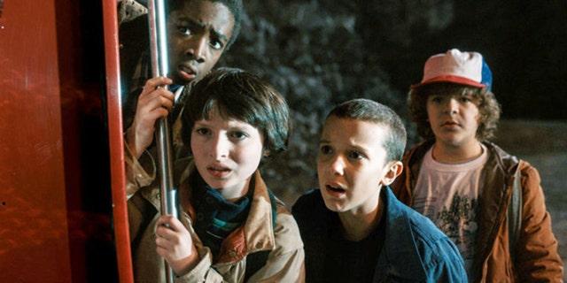 Left to right: Caleb McLaughlin, Finn Wolfhard, Millie Bobby Brown and Gaten Matarazzo in 'Stranger Things.'