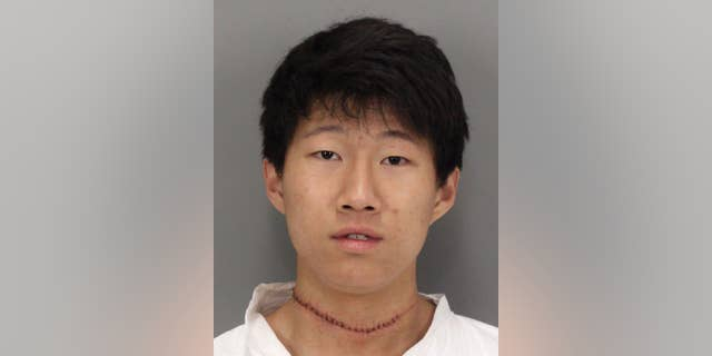 This photo provided by the Santa Clara Police Department, shows Dillon Kim after he was booked on attempted homicide charges on Tuesday, Feb. 17, 2015.  Kim, a university student, has been arrested on suspicion of stabbing and wounding his roommate in their dormitory on a Northern California campus. Santa Clara police Lt. Kurt Clarke says that Dillon Kim stabbed his roommate multiple times with a knife about 3:30 a.m. Wednesday at Santa Clara University. (AP Photo/Santa Clara Police Department)