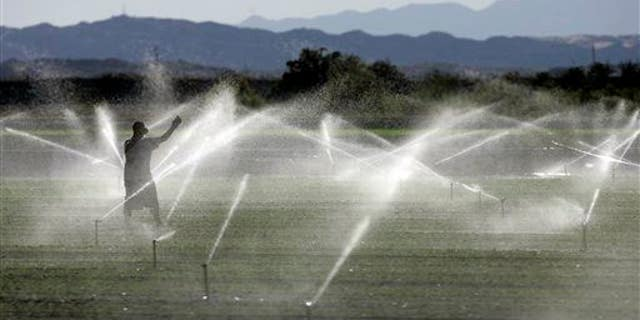 A farm worker adjusts an irrigation system in California. A new study found we're using up Earth's groundwater supply faster than it's being replenished.