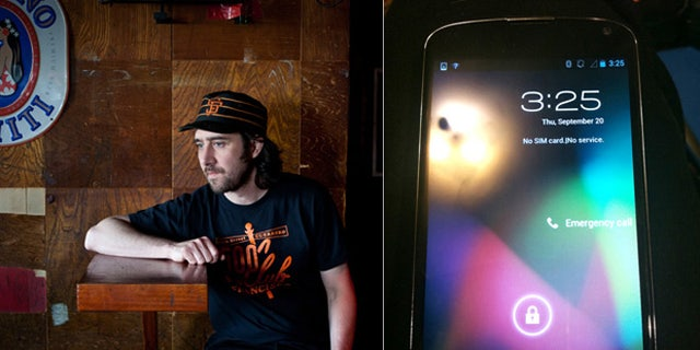 """Jamin Barton, aka """"Sudsy"""", of the 500 club in San Francisco's Mission District had found a prototype for Google's new Nexus 4 smartphone (pictured right) left behind at the bar by an employee for the tech giant."""
