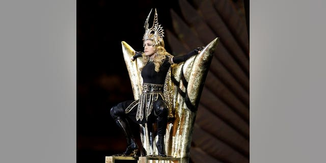 Feb. 5: Madonna performs during halftime of the NFL Super Bowl XLVI football game between the New York Giants and the New England Patriots in Indianapolis.