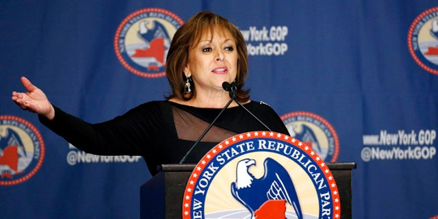 FILE - In this April 14, 2016 file photo, New Mexico Governor Susana Martinez speaks during the New York Republican State Committee Annual Gala in New York. Martinez, the nation's only Latina governor, is joining a chorus of Republican lawmakers in disavowing Donald Trump's repeated criticisms of a bereaved military family. (AP Photo/Kathy Willens, File)