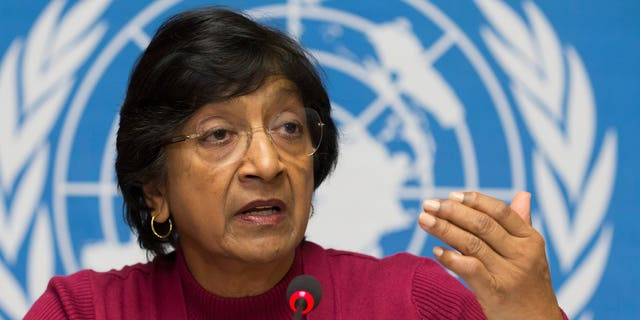 Dec. 2, 2013 - UN High Commissioner for Human Rights, South African Navi Pillay speaks at a news conference at the European UN headquarters in Geneva, Switzerland.  Pillay says there is mounting evidence that Syrian government officials including President Bashar Assad are responsible for crimes against humanity.