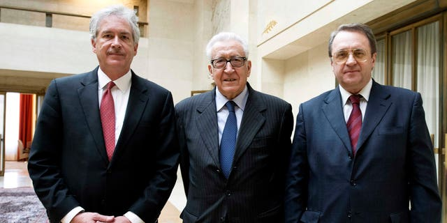 Jan. 11, 2013 - Lakhdar Brahimi, center, Joint Special Representative of the United Nations & League of Arab States for Syria, with Mikhail Bogdanov, right, Russian Deputy Foreign Minister and William Burns, left, US Deputy Secretary of State meet in Geneva, Switzerland.