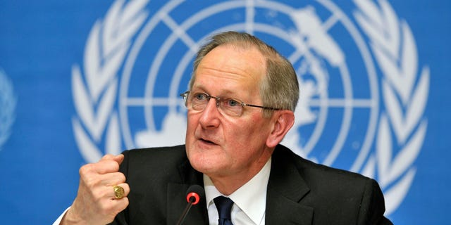 Feb. 28: Joseph Deiss, President of the U.N. General Assembly, speaks during a press conference in Geneva, Switzerland. Deiss called for the vote to suspend Libya from the U.N. Human Rights Council and signaled its adoption by consensus by banging his wooden gavel.