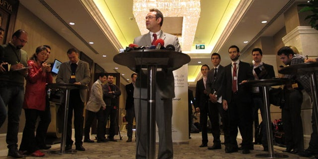 March 18, 2013: Khalid Saleh, the spokesman for the opposition Syrian National Coalition, speaks to reporters in Istanbul, Turkey.