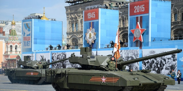 File photo - Russian T-14 tank with the Armata Universal Combat Platform drives during the Victory Day parade at Red Square in Moscow, Russia, May 9, 2015.