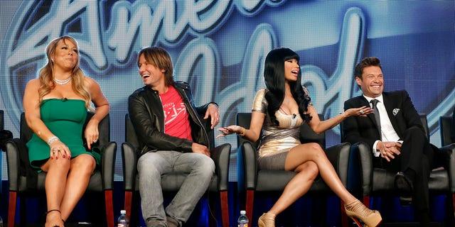 "Jan. 8, 2013: Ffrom left, Mariah Carey, Keith Urban, Nicki Minaj and Ryan Seacrest from ""American Idol"" attend the Fox Winter TCA Tour at the Langham Huntington Hotel, in Pasadena, Calif."