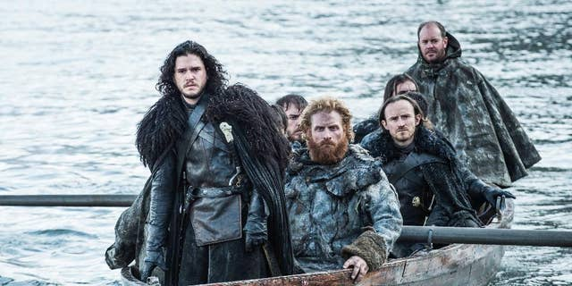 """This image released by HBO shows Kit Harington as Jon Snow, left, in a scene from """"Game of Thrones."""""""