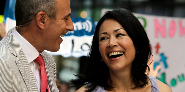 """July 22, 2011: NBC """"Today"""" television program co-hosts Matt Lauer and Ann Curry appear during a segment of the show in New York."""