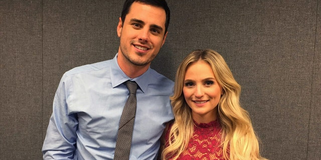 "Ben Higgins and Lauren Bushnell pose for a photo, Tuesday, March 15, 2016, in New York. Higgins proposed marriage to Bushnell in the season finale of ABC's ""The Bachelor."" The show just wrapped its 20th season."