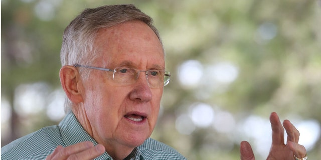 Senate Majority Leader Harry Reid, of Nevada, addresses participants at the 18th Annual Lake Tahoe Summit, Tuesday, Aug. 19, 2014, in South Lake Tahoe, Calif.
