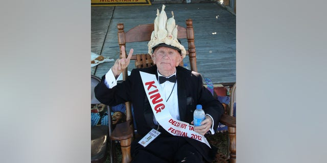 """World War II veteran Lawrence """"Shine"""" Thornton, 87, is shown after being crowned """"Hot Tamale King"""" for his home-cooked beef tamales. Thornton died from injuries he received during an apparent mugging at his Mississippi home on October 20, 2013."""