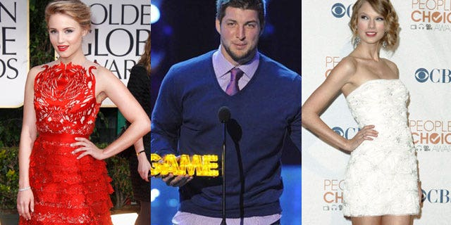 Is Tim Tebow caught between two gals, Dianna Agron (left) and Taylor Swift?