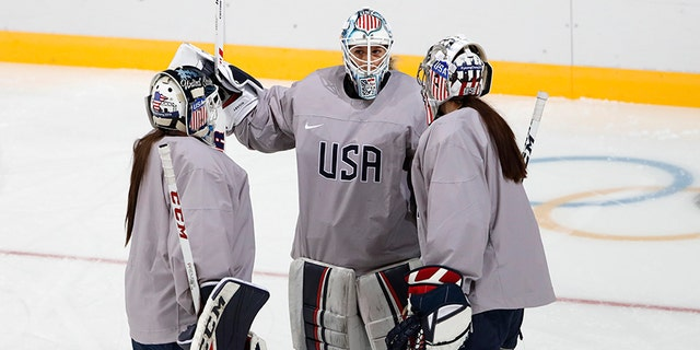 Team USA goaltenders Madeline Rooney, Alex Rigsby, Nicole Hensley train at the Kwandong Hockey Centre in Gangneung, South Korea on February 10, 2018.