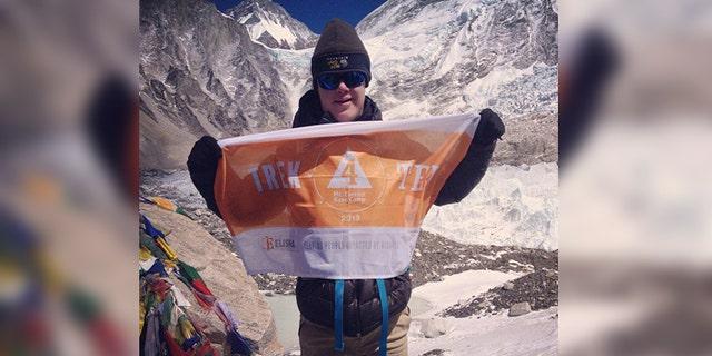 Eli Reimer at Mt. Everest's South Base Camp in Nepal.
