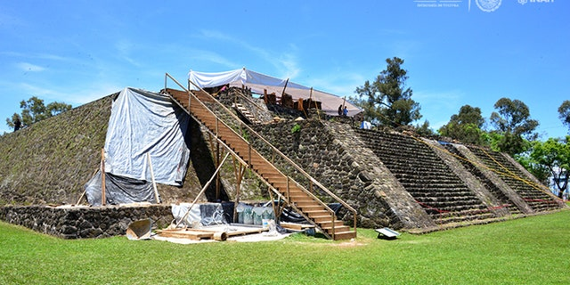 Teopanzolco pyramid was built sometime between 1200 and the Spanish conquest in 1521.