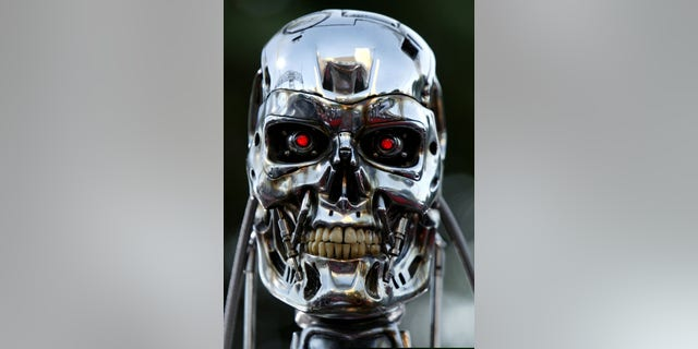 """File photo - A robot from the movie is on display for the premier of the motion picture Terminator 3 """"Rise of the Machines"""" June 30, 2003 in west Los Angeles. (Mike Blake/Reuters)"""