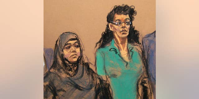 """FILE- In this April 2, 2015 courtroom sketch, defendants Noelle Velentzas, left and Asia Siddiqui, appear at federal court in New York on charges they plotted to wage violent jihad by building a homemade bomb and using it for a Boston Marathon-type terror attack. According to prosecutors, the pair weren't interested in taking on the subservient role of going overseas to marry the militant group fighters, but sought to """"make history"""" on their own by building a bomb and attacking a domestic target. (AP Photo/Jane Rosenberg, File)"""