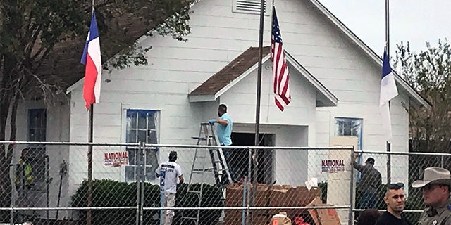 Workers at First Baptist Church in Sutherland Springs.