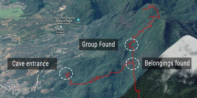 The Tham Luang Nang Non cave complex in northern Chiang Rai province, where the team has been trapped.