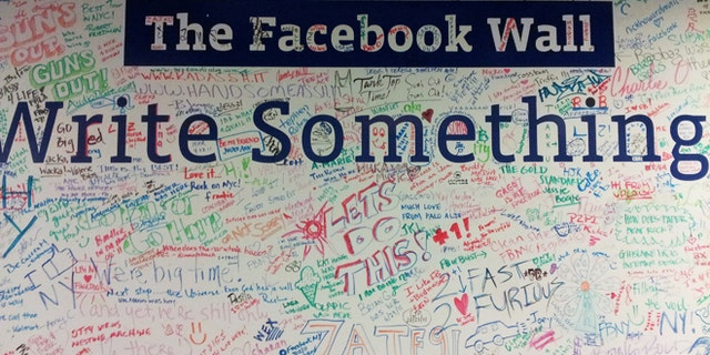 The Facebook Wall -- not the virtual one, but a real wall, at the company's New York offices.