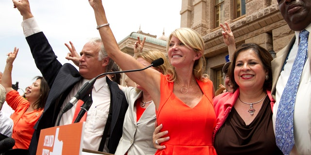Democratic state senators Kirk Watson, Wendy Davis, Leticia Van de Putte and Royce West on July 1, 2013 in Austin, Texas.