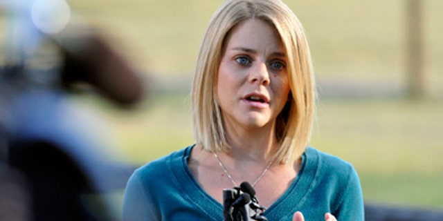 Oct. 8, 2012: Tiffany Hartley speaks at a news conference at her family farm in La Salle, Colo.