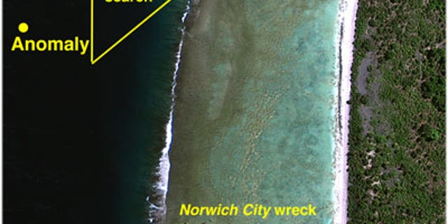 TIGHAR's dive team will make an intensive search from the point on the reef edge where the plane appears to have gone into the water (the 1937 Bevington Object location).