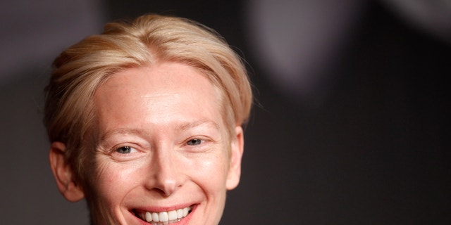 """Cast member Tilda Swinton attends a news conference for the film """"Moonrise Kingdom"""", by director Wes Anderson, in competition at the 65th Cannes Film Festival, May 16, 2012."""