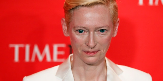 Actress Tilda Swinton arrives to be honored at the Time 100 Gala in New York, April 24, 2012.