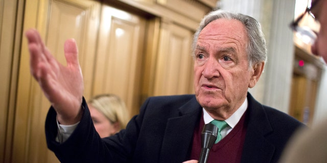 FILE: Dec. 17, 2012. Sen. Tom Harkin, D-Iowa, speaks to reporters after a vote on Capitol Hill, in Washington.