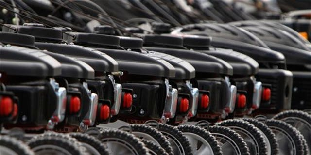 April 25: Lawnmowers are lined up for sale at a Tractor Supply store in Montpelier, Vt.