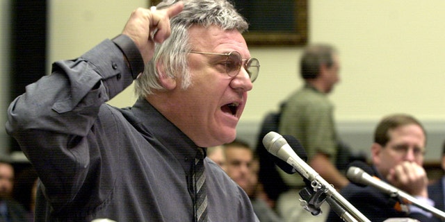 FILE: July 15, 2002: Rep. James Traficant, D-Ohio, testifies on Capitol Hill, in Washington, D.C., before the House Ethics Committee.