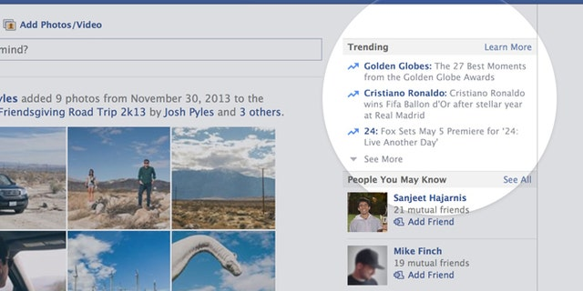 """Facebook on Thursday unveiled a """"trending topics"""" module to show users what other Facebookers are talking about."""