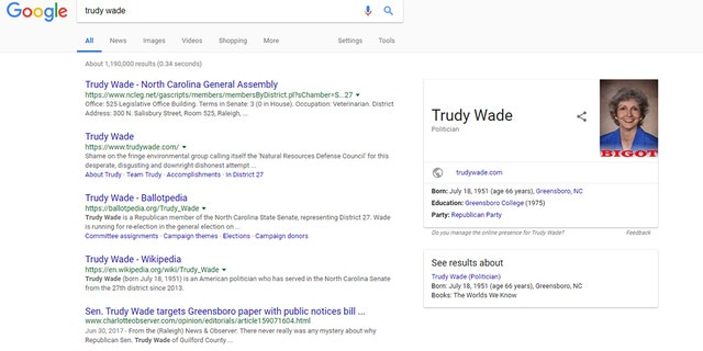 A photo of North Carolina State Senator Trudy Wade appeared in Google's Knowledge Panel with the word 'bigot' written across the bottom.