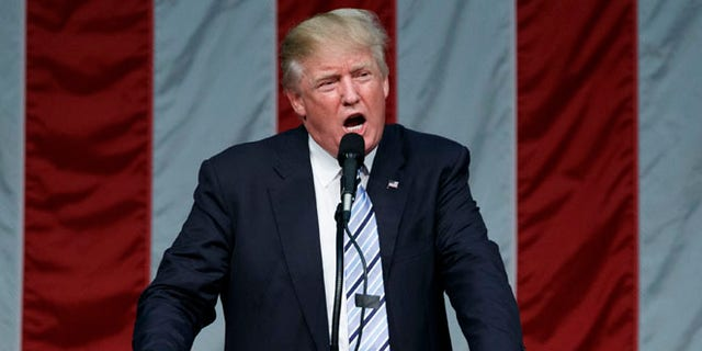 Republican presidential candidate Donald Trump speaks during a campaign rally at Sacred Heart University, Saturday, Aug. 13, 2016, in Fairfield, Conn. (AP Photo/Evan Vucci)