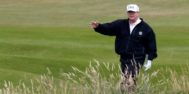President Trump stayed at his Turnberry golf resort in Scotland.