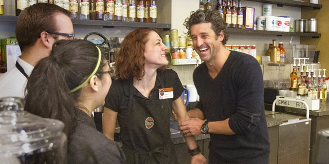Jan. 4, 2013: Patrick Dempsey meets the staff at the Tully's Coffee in Seattle.