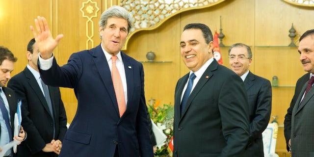 Feb. 18, 2014: Secretary of State John Kerry, left, meets with Tunisian Prime Minister Mehdi Joma'a at Dar Diafa Palace.