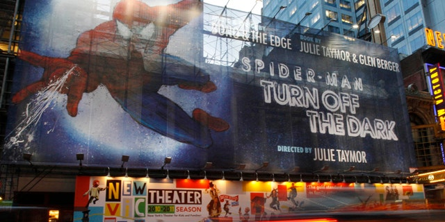 The Foxwoods Theater, the home of 'Spider-Man: Turn Off the Dark,' is seen in this Oct. 5, 2010 file photo.